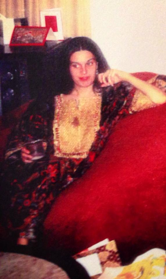 Mom at Christmas 1973. She was just shy of 34. Looking like Vogue model in Bullocks Wilshire caftan Dad bought her.