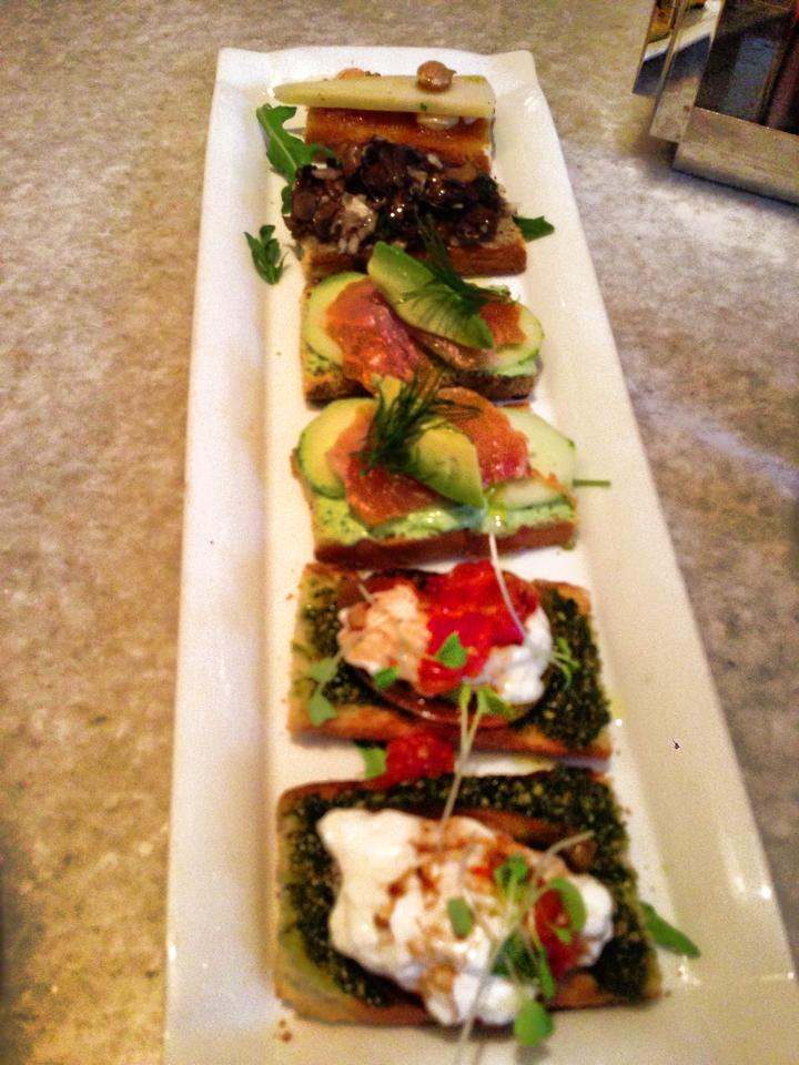 6 for 21.  Note: The Burrata crostini in LA has pesto. Not the same as the NYC locations. Fig and manchego with marcona almond , along with the mushroom, the best. The salmon was pretty good but the pesto messed up the burrata.