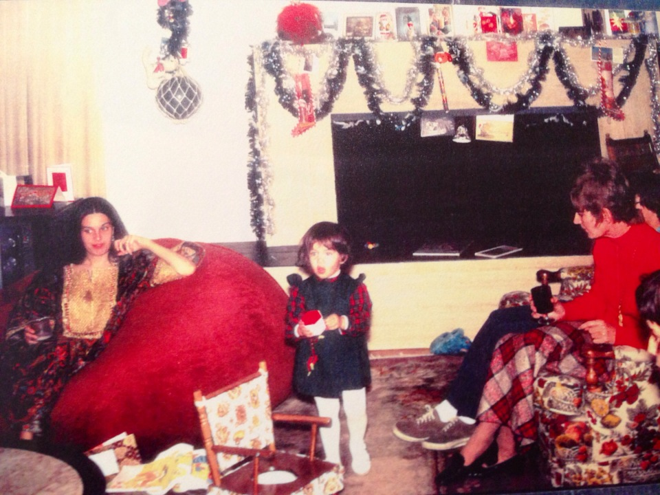 1973 Christmas. Me at 22 months with Mom, looking like a Vogue model.