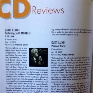 My most recent reviews for the print edition of Cabaret Scenes: David Benoit and Kurt Elling. Web reviews are not limited to 350 words for CDs, so those can be a bit more comprehensive.