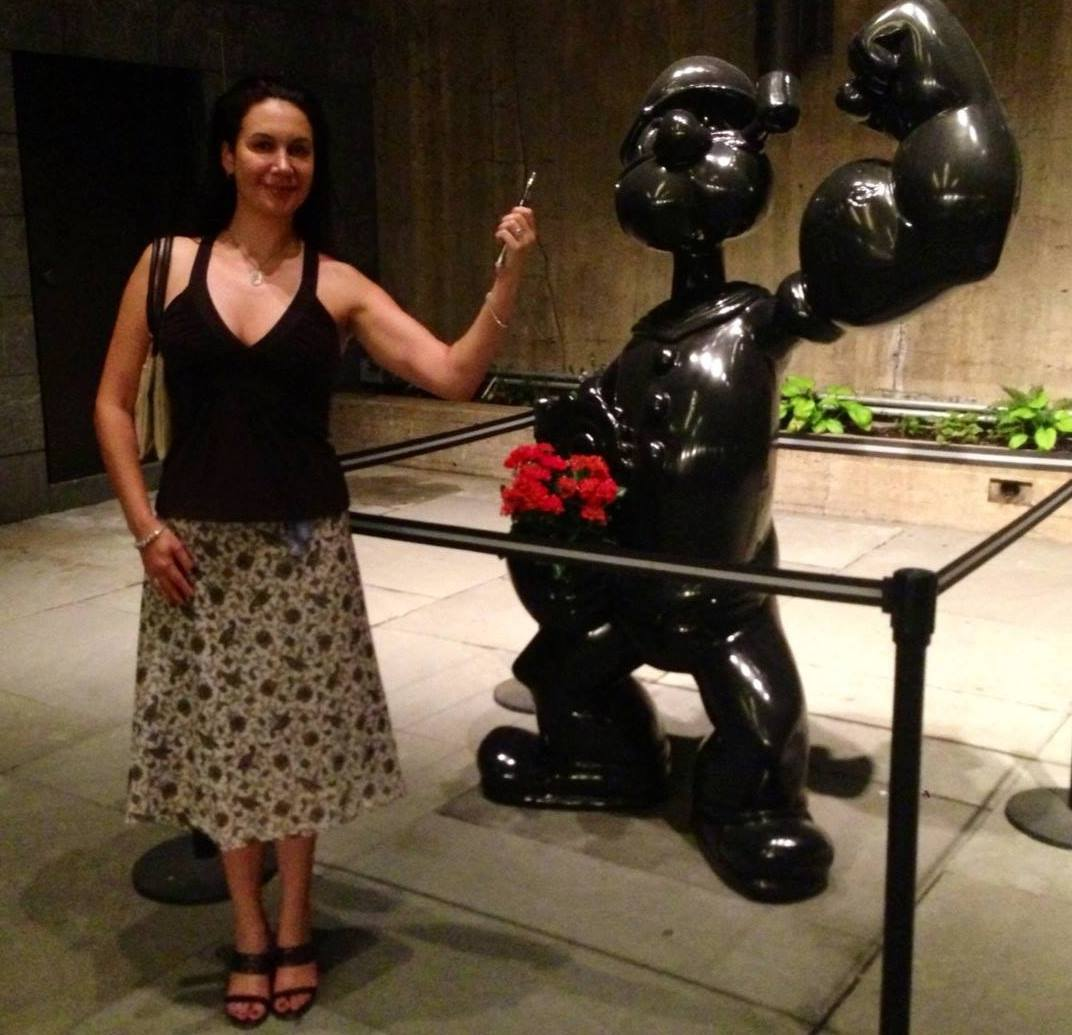 Me at the Whitney its last week, next to the Jeff Koons Popeye sculpture.