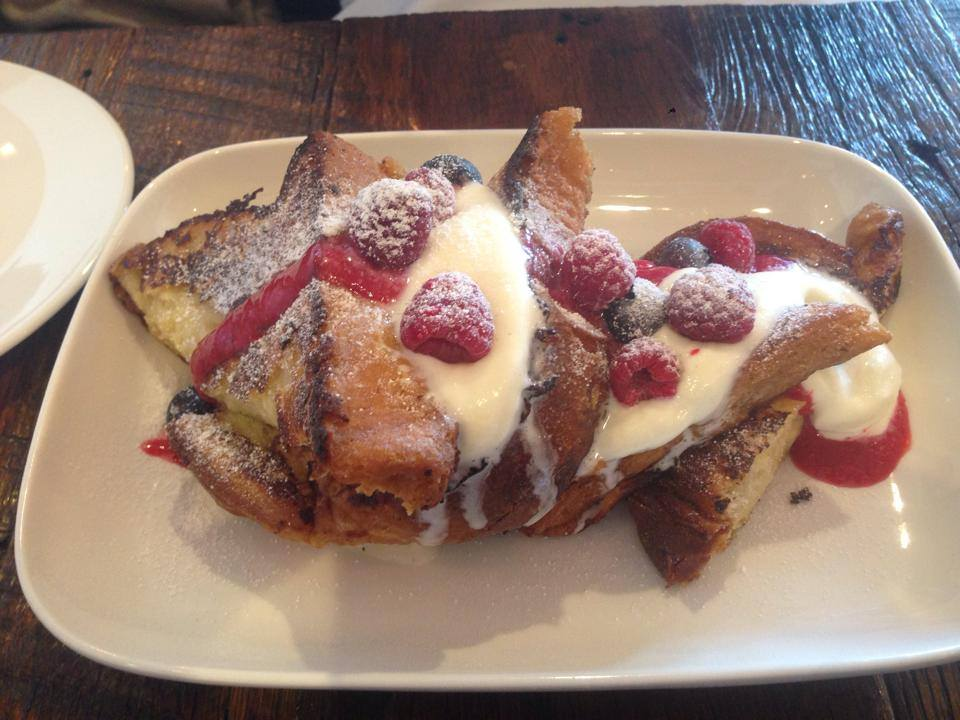 French toast with berry coulis and mascarpone. This is TWO portions for just 11 dollars. No one should eat all of this on a regular basis.