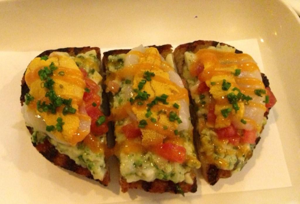 Scallop, shrimp and uni toast.