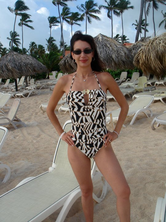 Summer 2010 in a Trina Turk suit. This shaves off some 5 to 7 pounds because it was pre-iPhone and the Pantech took the most slimming pictures of any phone or camera I've seen. No doctoring. Just flattering phone camera.