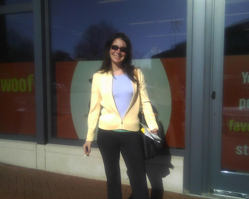 March, 2012 in Georgetown outside nail salon. A gorgeous day for early March.