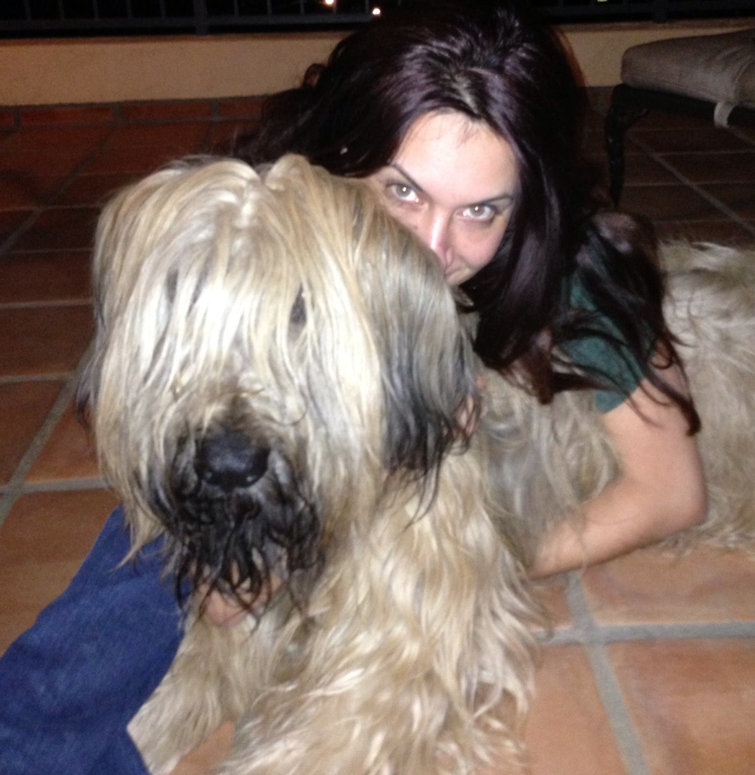 With Doobie, J's parents French Briard I love as much as our lab, Emma. Here in SB for Passover